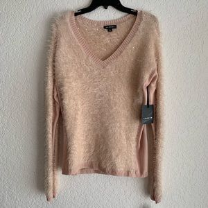Trouve Sequin Long Sleeve V Neck Sweater